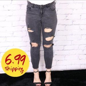 Garage black mid-rise cropped skinny jeggings b704